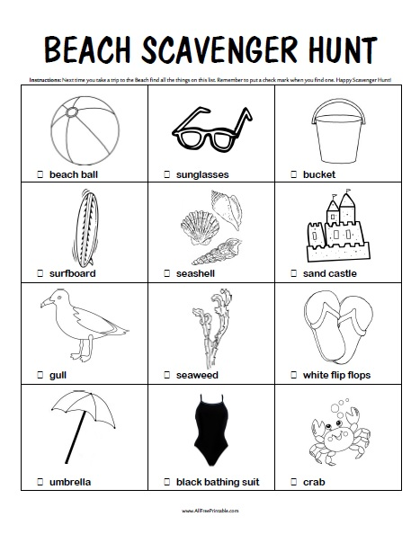 photograph relating to Beach Printable referred to as Seaside Scavenger Hunt - Absolutely free Printable -
