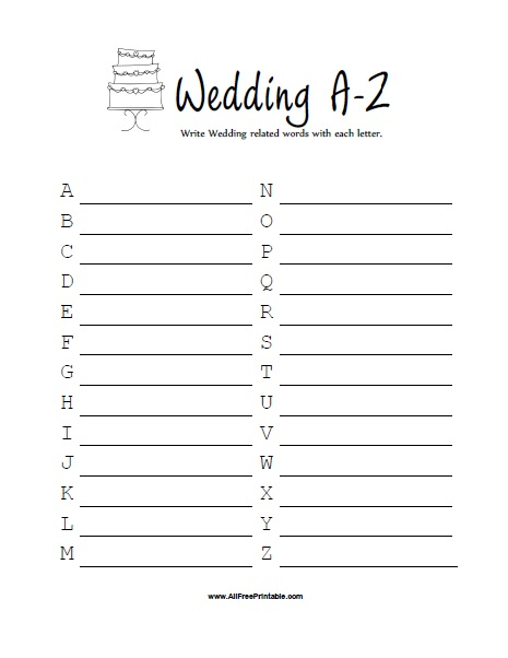 Free Printable Bridal Shower Wedding A-Z Game