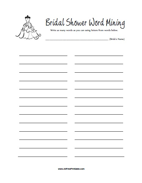 Free Printable Bridal Shower Word Mining Game