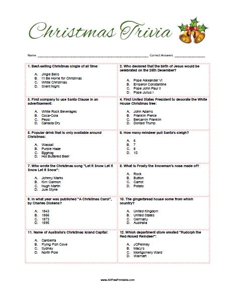 Christmas Trivia Game - Free Printable - AllFreePrintable.com