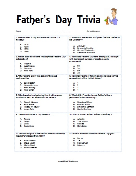 graphic about American History Trivia Questions and Answers Printable known as Fathers Working day Trivia - Free of charge Printable -