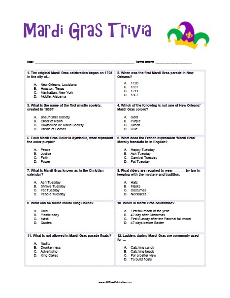 photo regarding Mardi Gras Trivia Quiz Printable referred to as Mardi Gras Trivia - Absolutely free Printable -