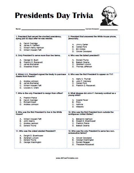 Free Printable Presidents Day Trivia