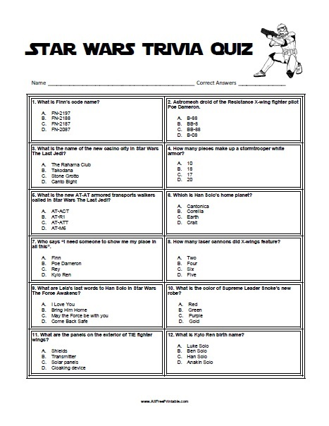 Free Printable Star Wars Activities