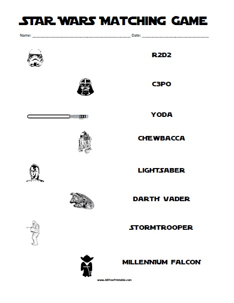 Free Printable Star Wars Matching Game