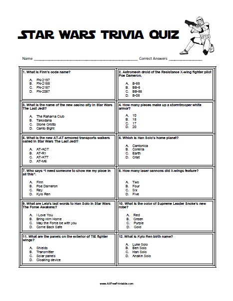 Free Printable Star Wars Trivia Game