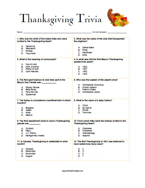 image relating to Mardi Gras Trivia Quiz Printable titled Thanksgiving Trivia Activity - Cost-free Printable -