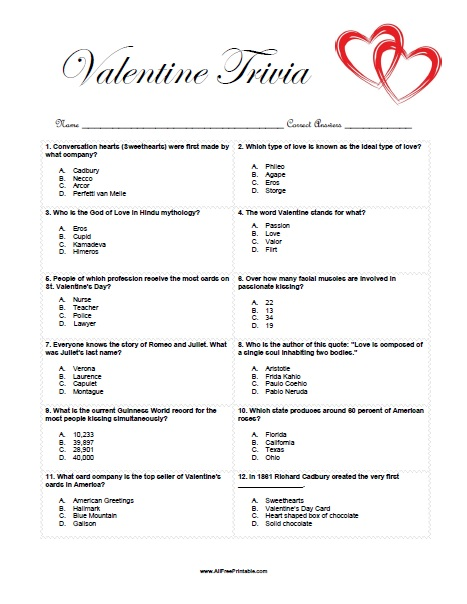image relating to Printable Trivia named Valentine Trivia Sport - Absolutely free Printable -