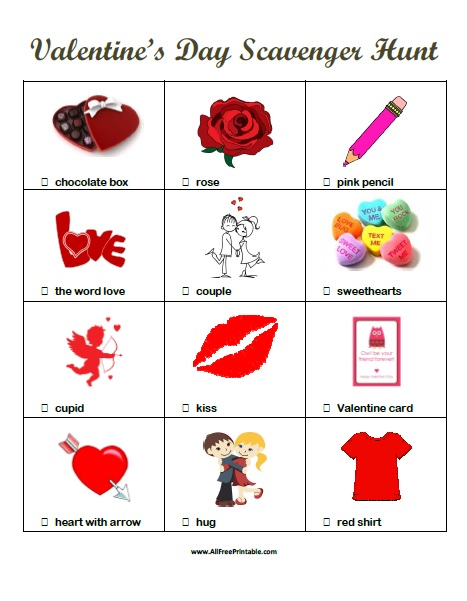 Free Printable Valentine's Day Scavenger Hunt