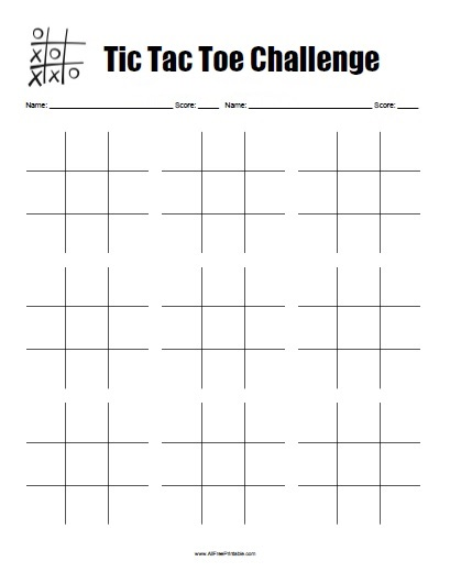 Tic Tac Toe Game Free Printable AllFreePrintable – Tic Tac Toe Template