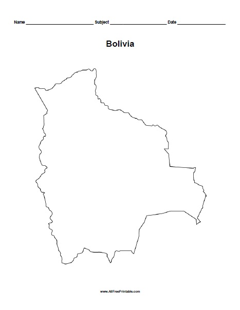 Free Printable Bolivia Outline Map