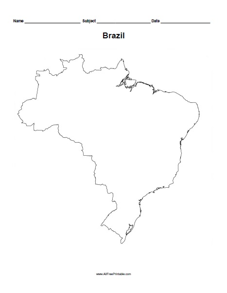 free printable brazil outline map