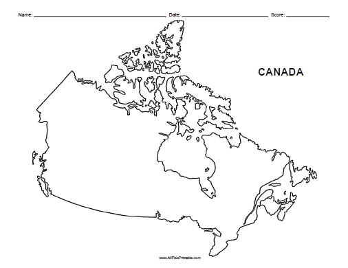 canada blank map free printable allfreeprintable
