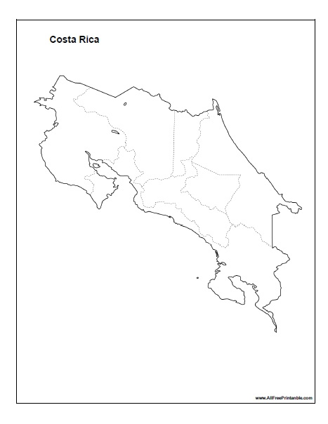 Free Printable Costa Rica Blank Map