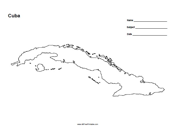 Free Printable Cuba Outline Map