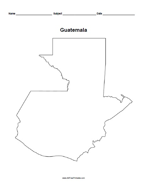 Free Printable Guatemala Outline Map