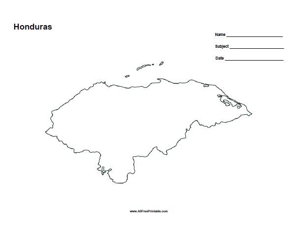 Free Printable Honduras Outline Map