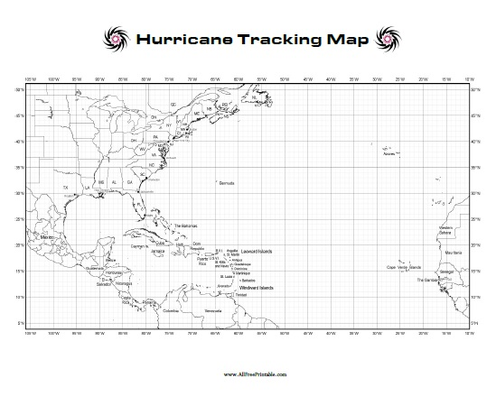 photo relating to Hurricane Tracking Map Printable known as Hurricane Monitoring Map - Free of charge Printable -