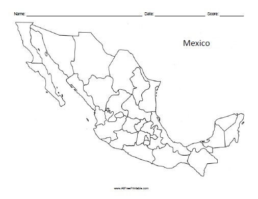 Mexico Blank Map Free Printable AllFreePrintable – Plain Map of Mexico