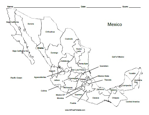 Free Printable Mexico Labeled Map