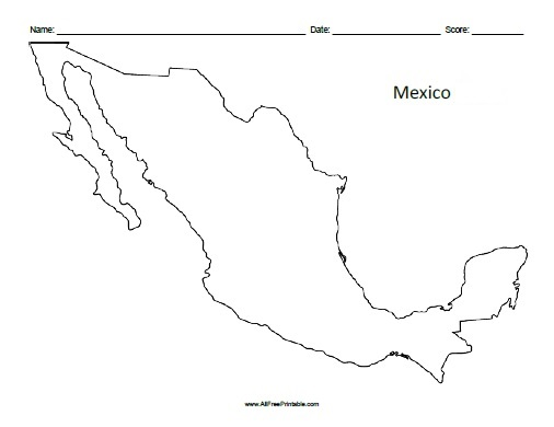 Free Printable Mexico Outline Map