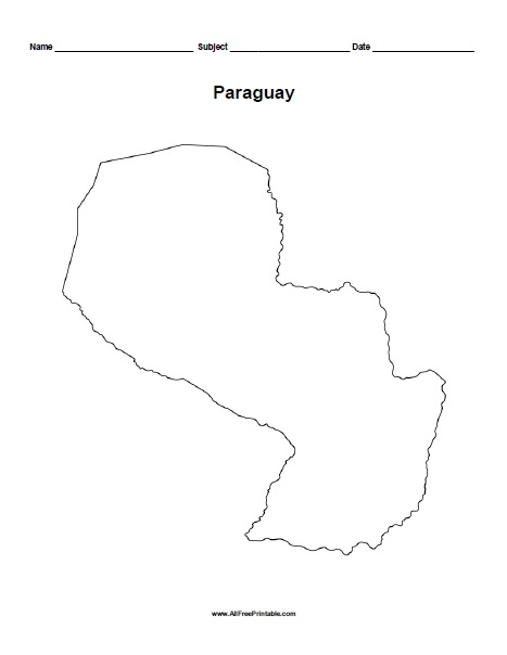 Free Printable Paraguay Outline Map