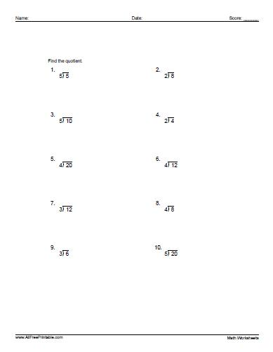 Free Printable Basic Division Worksheets