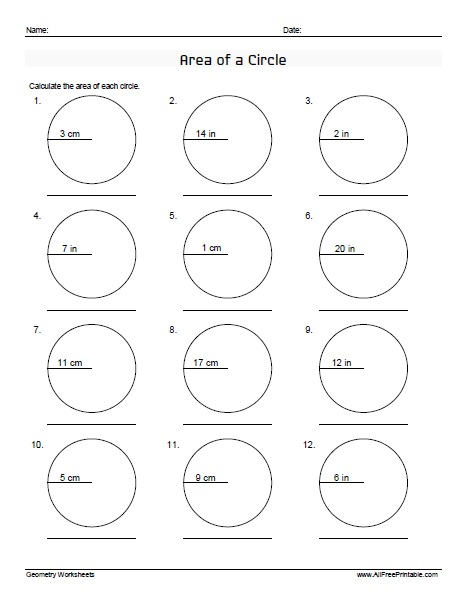 Free Printable Area of a Circle Worksheets