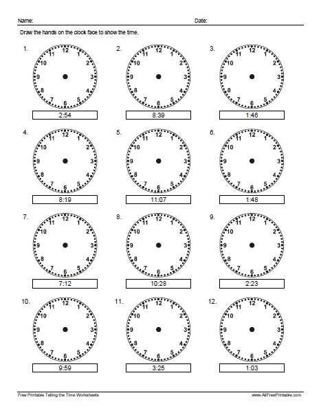 Free Printable Draw the Hands on the Clock Worksheet