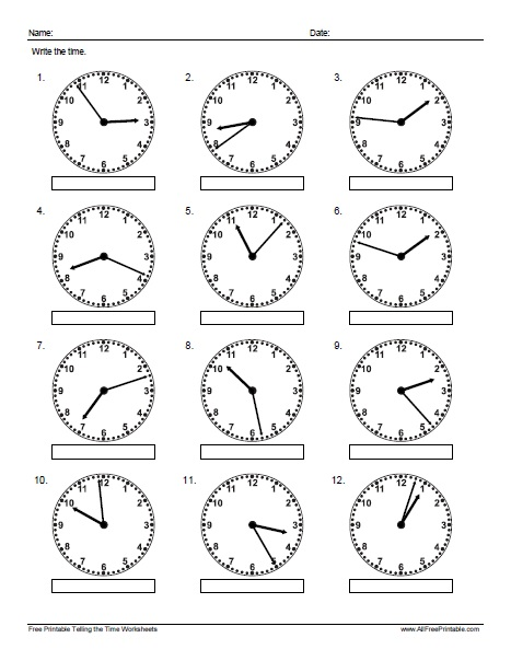 Free Printable Telling the Time Exercises