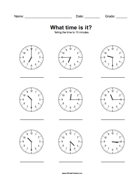 Free Printable What Time Is It Worksheet