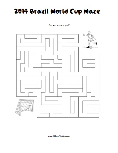 Free Printable 2014 Brazil World Cup Maze