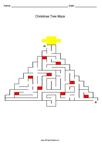 Free Printable Christmas Tree Maze