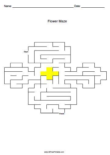Free Printable Flower Maze