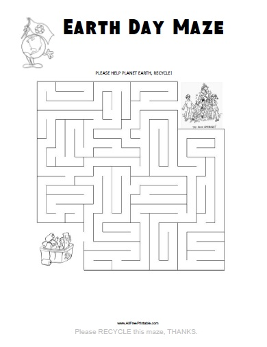 Free Printable Earth Day Maze
