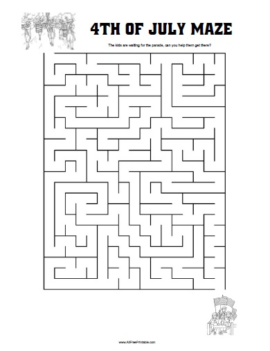 Free Printable Fourth of July Maze