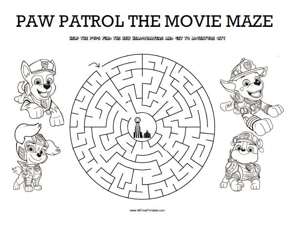 Free Printable Paw Patrol The Movie Maze