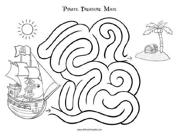 Free Printable Pirate Treasure Maze
