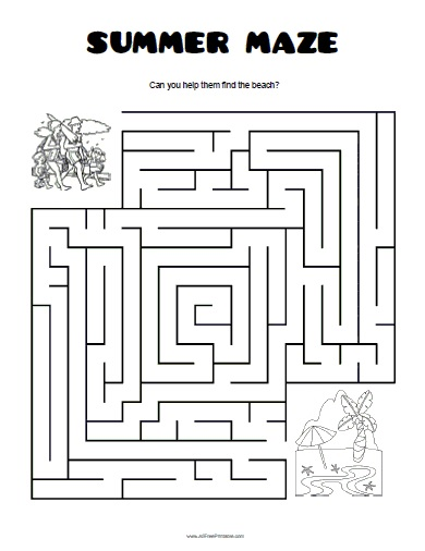 Summer Maze - Free Printable - AllFreePrintable.com