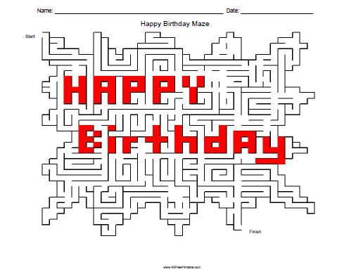 Free Printable Happy Birthday Maze