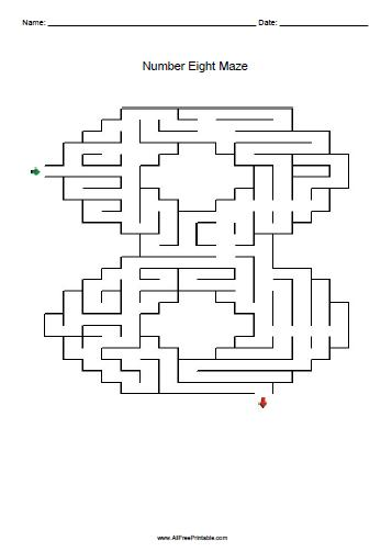 Free Printable Number Eight Maze