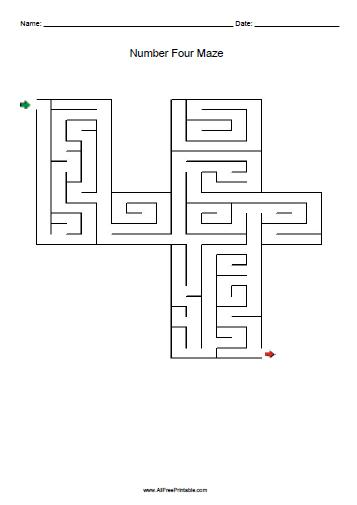Free Printable Number Four Maze