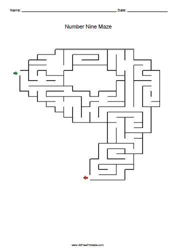 Free Printable Number Nine Maze