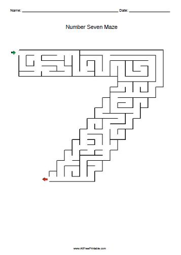 Free Printable Number Seven Maze