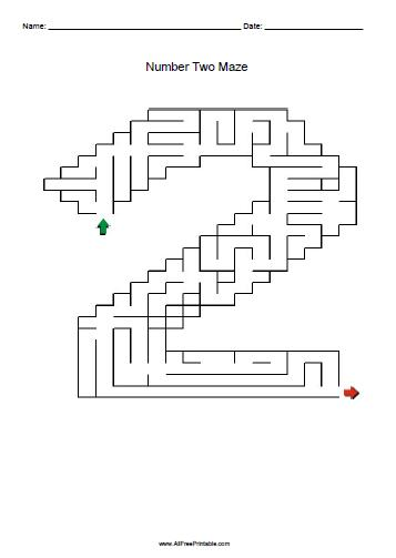 Free Printable Number Two Maze