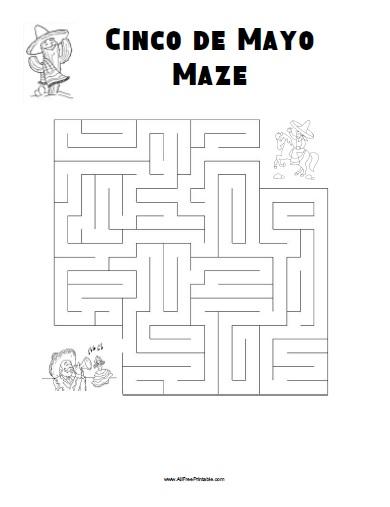 Cinco De Mayo Maze Free Printable Allfreeprintable Com