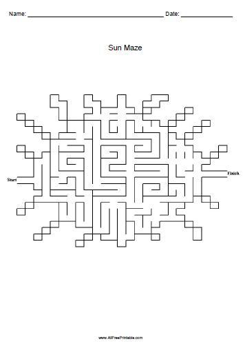Free Printable Sun Maze