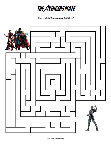 Free Printable The Avengers Maze