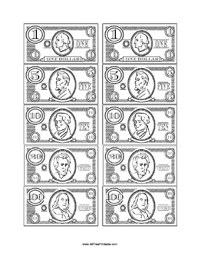 printable play dollars and coins