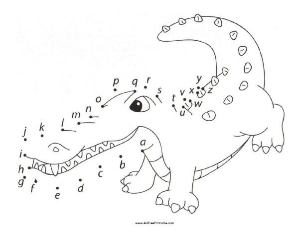 Free Printable ABC Dot to Dot Crocodile